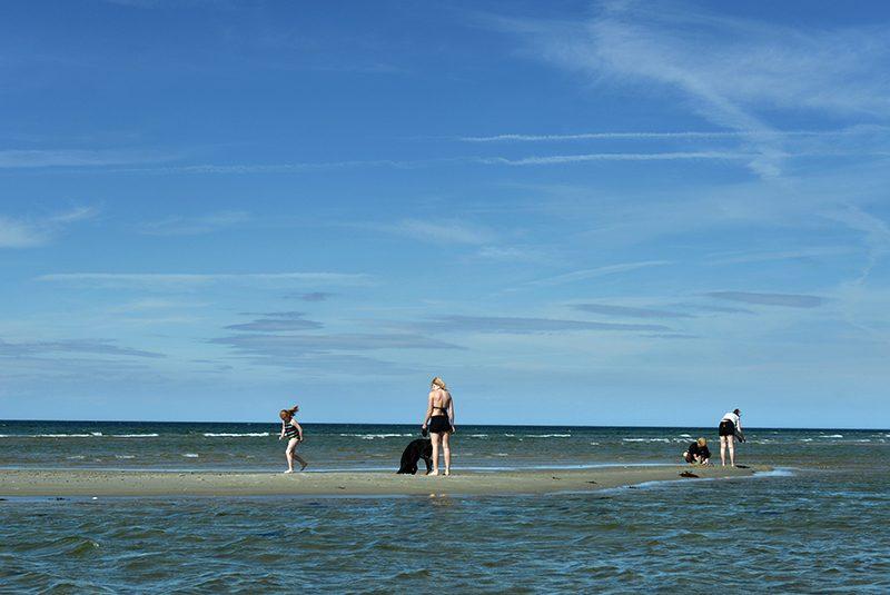 Mennesker, der bader i Kattegat ved Fjellerup kyst
