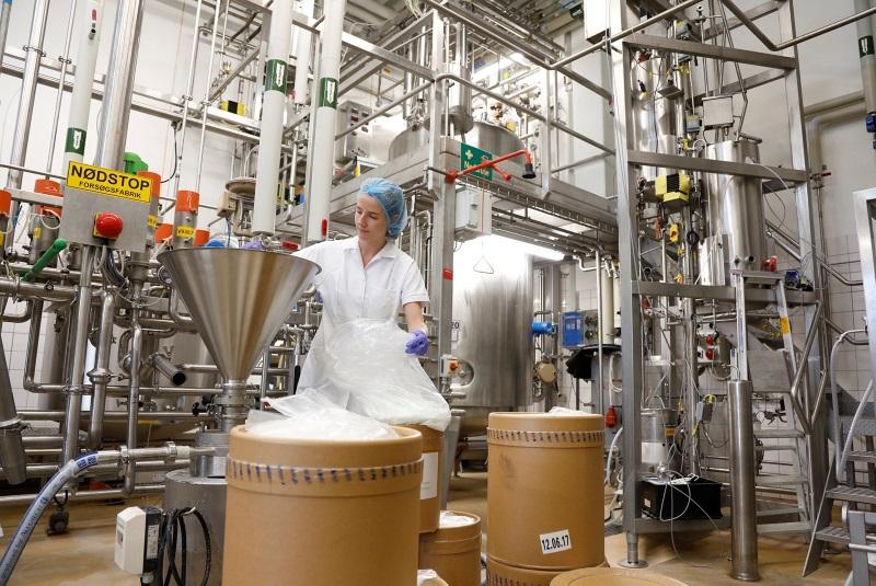 Kvinde arbejder ved maskine på gærfabrik