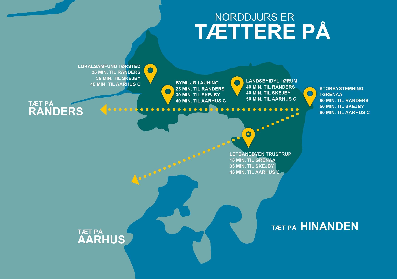 Kort over Norddjurs Kommune
