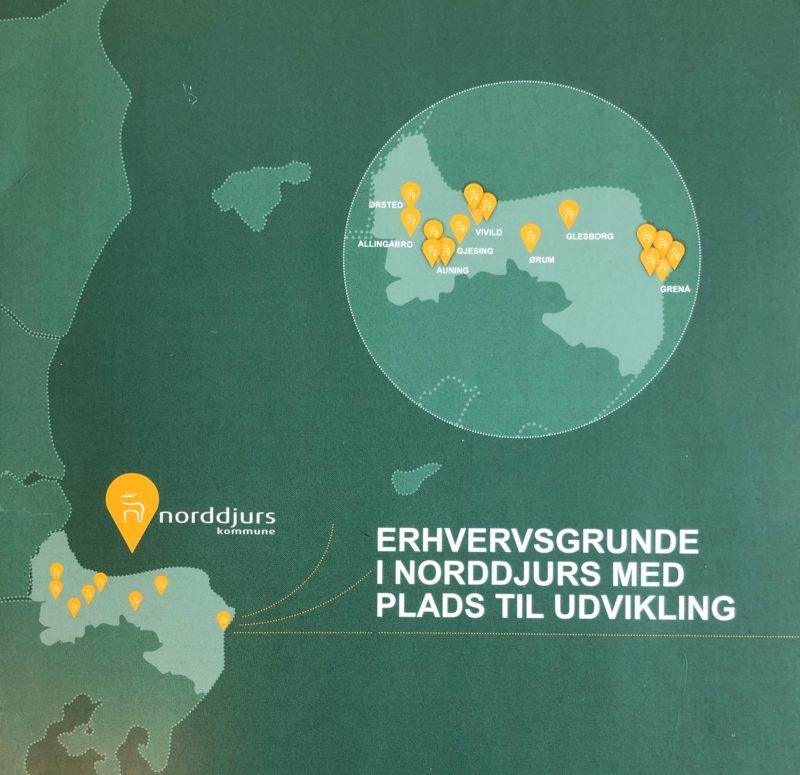 Kort over Djursland med udpegning af erhvervsgrunde i Norddjurs