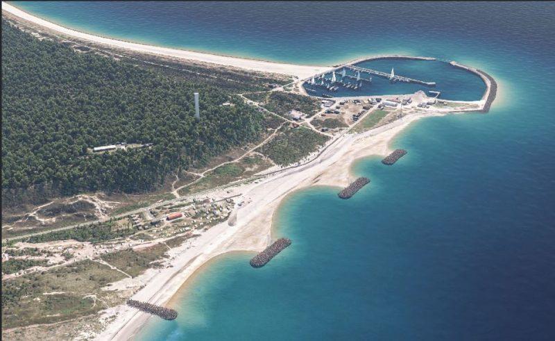 Anholts nye kystsikringsanlæg set oppefra med drone